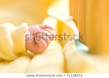 ストックフォト: Infant Hand In Baby Bed With Wooden Fence