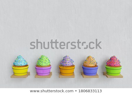 3d render of cup-cake on white in diferent colors Stock photo © Melvin07