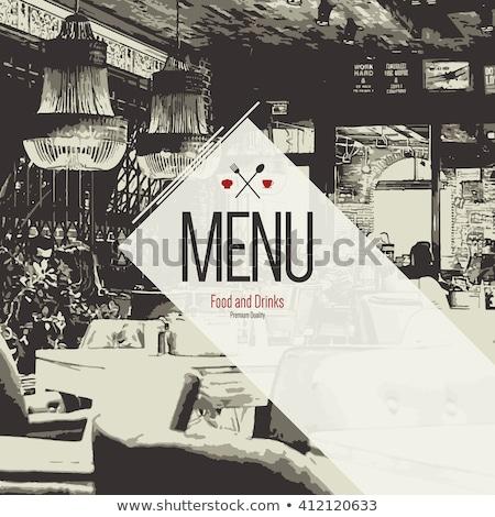 şef · restoran · yemek · bayrak · çatal - stok fotoğraf © arzawen