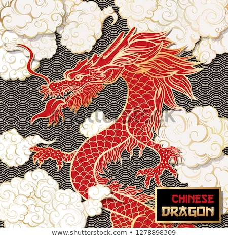 Stock photo: chinese dragon at the sky