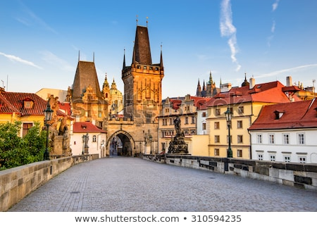Prague. Charles bridge, Mala Strana gate Stock photo © photocreo
