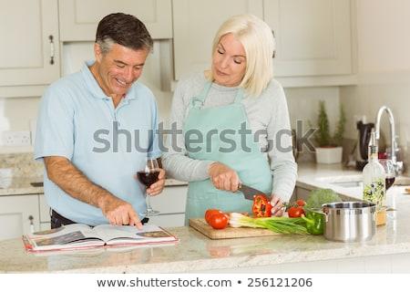 Pareja libro de cocina alimentos libro ojo amor Foto stock © photography33