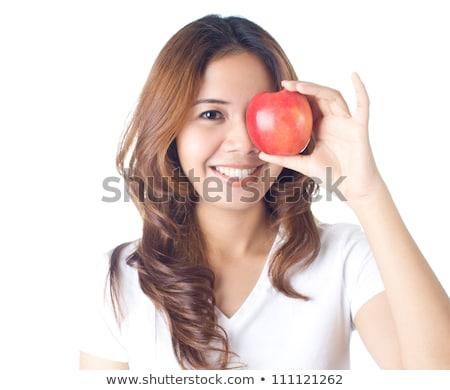 portret · jonge · kaukasisch · vrouw · appels · handen - stockfoto © feedough