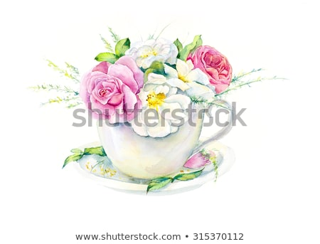 Pink roses and an elegant teacup in the garden  Stock photo © Julietphotography