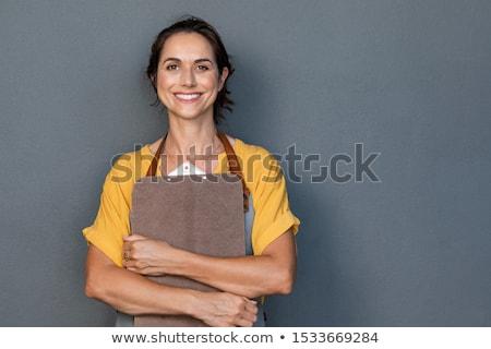 счастливым · случайный · улыбаясь · женщину · белый - Сток-фото © broker