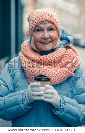 Vrouw genieten warme drank koffie ogen mond Stockfoto © photography33