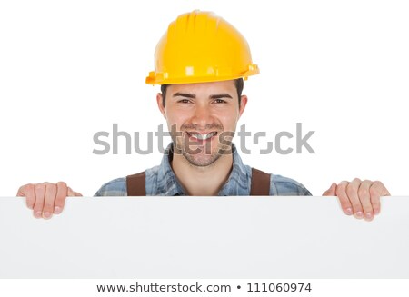 Man in hard hat holding blank message board Stock photo © photography33