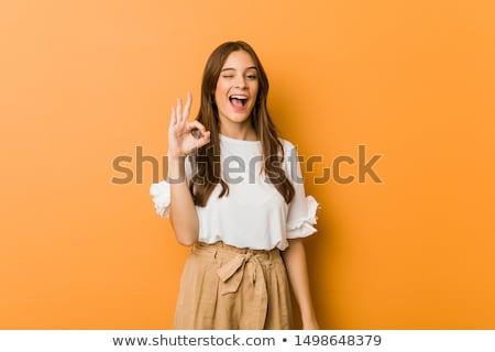 Stockfoto: Succes · gebaar · mooie · soldaat · meisje