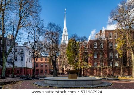 église Boston centre-ville bâtiment urbaine Photo stock © benkrut