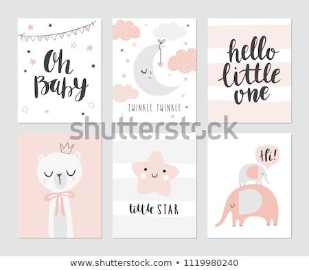 grappig · baby · aankondiging · kaart · verjaardag · achtergrond - stockfoto © balasoiu
