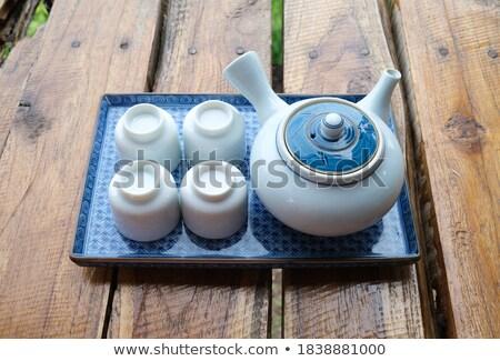 Porselein ingesteld drinken moderne stijl geïsoleerd afbeelding Stockfoto © Pilgrimego