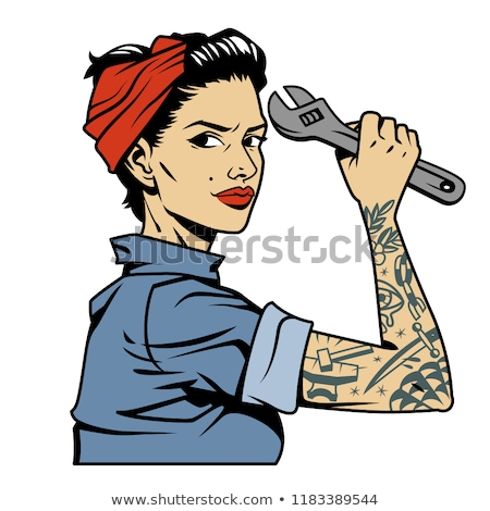 Female mechanic with tattoos Stock photo © sumners