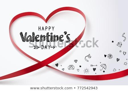 Szalag szeretet vörös szalag szívek forma valentin nap Stock fotó © vectorArta
