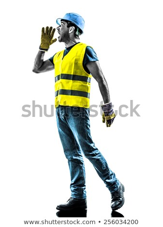 mérges · építőmunkás · bosszús · keresztbe · tett · kar · férfi · szomorú - stock fotó © stevanovicigor