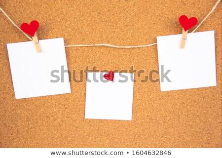 Lege nota hart Valentijn bericht kurk boord Stockfoto © artush