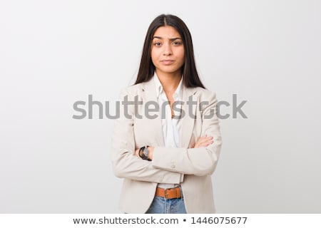 Portret twijfelachtig zakenvrouw witte business hand Stockfoto © wavebreak_media