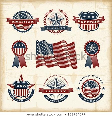 Amerikai zászló bélyeg USA ház csillagok retro Stock fotó © samsem