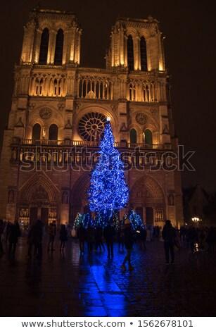 Párizs · karácsony · Franciaország · égbolt · város · templom - stock fotó © erickn