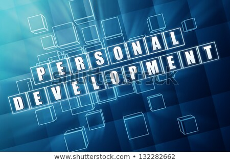 personal development in blue glass cubes stock photo © marinini