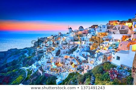Igreja santorini pequeno ilha edifício azul Foto stock © elxeneize
