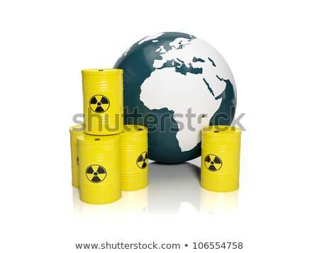 3d illustration: muddy ground nuclear waste. Barrels of nuclear  Stock photo © kolobsek