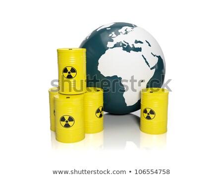 3d illustration: muddy ground nuclear waste. Barrels of nuclear  stock photo © kolobsek