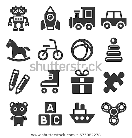 hobbelpaard · icon · paard · speelgoed · vector · icon · witte - stockfoto © zzve