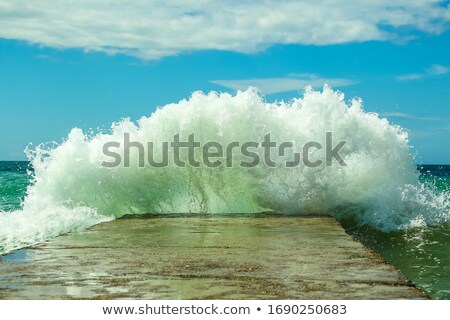 Large wave breaking against the shore Stock photo © jrstock