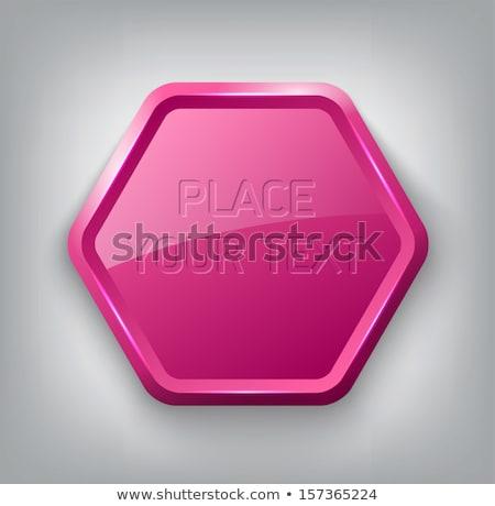 Stock fotó: Fényes · rózsaszín · pajzs · embléma · ezüst · szárnyak