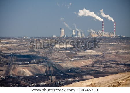 surface coal mining and power station stock photo © redpixel