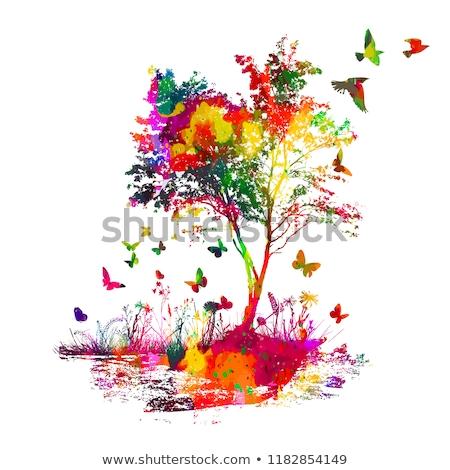 Ağaç hayat kelebek ahşap yumurta sanat Stok fotoğraf © shawlinmohd