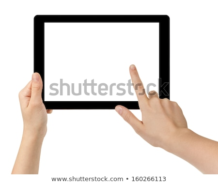female pointing finger to tablet pc screen stock photo © dolgachov