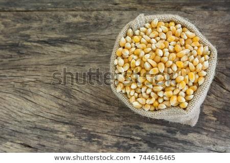 Foto stock: Rachado · milho · saco · orgânico · secar · rua