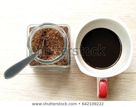 Teáskanál frissen kinyitott bögre aromás kávé Stock fotó © sarahdoow