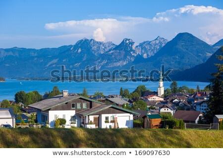 Ver lago alpes montanhas Áustria céu Foto stock © pixachi
