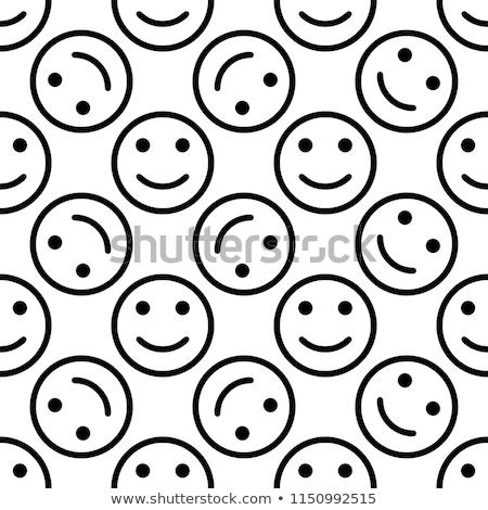 rajzolt · emberek · betűk · arcok · feketefehér · rajz · illusztráció - stock fotó © polygraphus