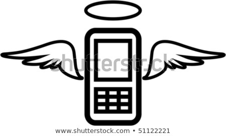 Vector funny mobile phone illustration - Angel Stock photo © Mr_Vector