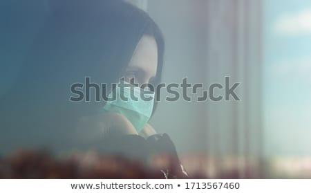 Foto d'archivio: Ritratto · signora · dietro · finestra · donna