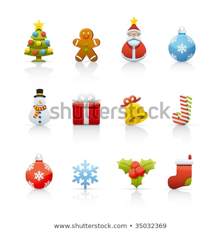 Christmas icons with reflect on white background Stock photo © punsayaporn
