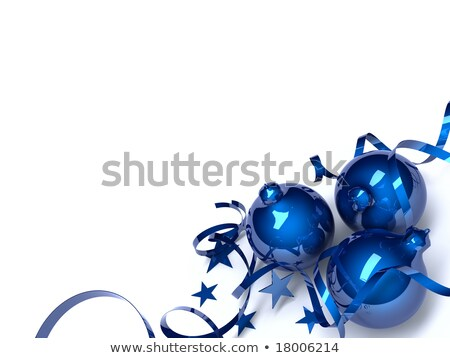 blue christmas toys in an environment of stars and a tinsel on a white background stock photo © serp