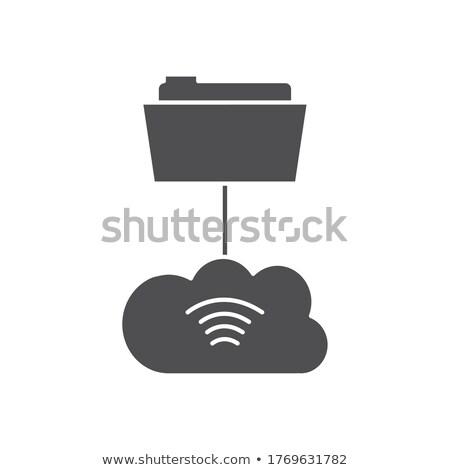 Stok fotoğraf: Folder Cloud Storage Concept Illustration Design Over White