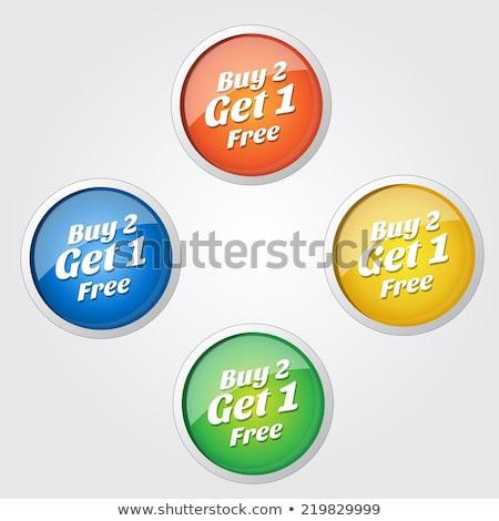 Buy 2 Get 1 Free Green Circular Vector Button Stock photo © rizwanali3d