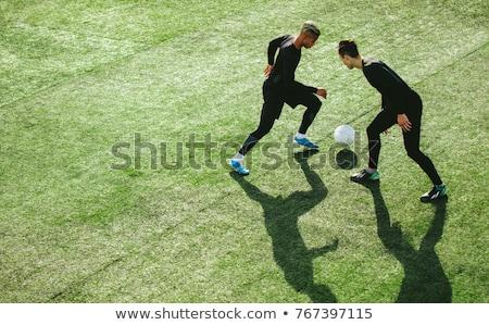 fútbol · campo · de · fútbol · pelota · marcador · establecer · bandera - foto stock © darkves