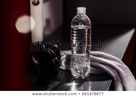 boxer resting with water and a towel after training Stock photo © master1305