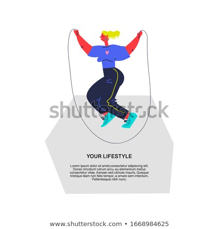 人 ロープ 行使 ジャンプ アイコン ベクトル ストックフォト © Dxinerz