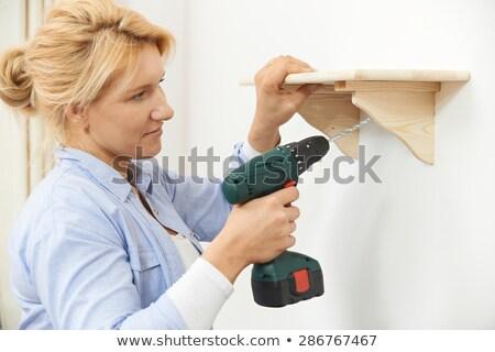 Photo stock: Femme · up · bois · plateau · maison · sans · fil