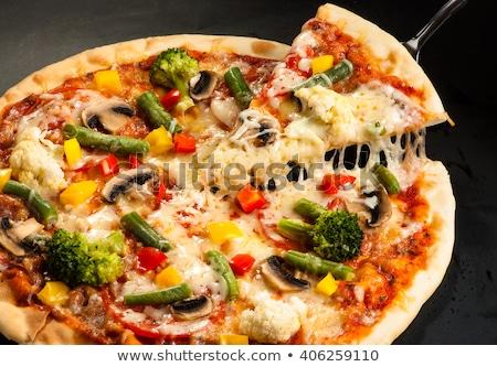 Vegetáriánus pizza korpa szelektív fókusz asztal zöld Stock fotó © zoryanchik