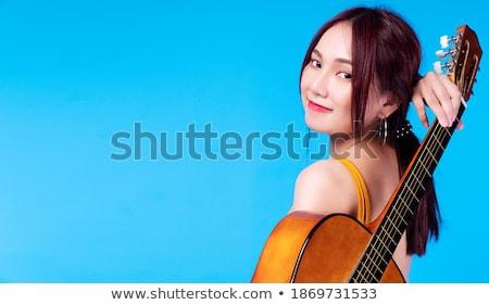 Szczęśliwy pani za niebieski tkaniny portret Zdjęcia stock © roboriginal
