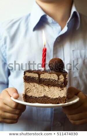 volwassen · man · chocolade · verjaardagstaart · glimlachend - stockfoto © lunamarina