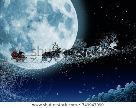 Sanie Święty mikołaj światło księżyca księżyc zimą sylwetka Zdjęcia stock © adrenalina